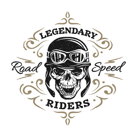 Biker Skull t-shirt prints emblemen. Vintage-stijl.