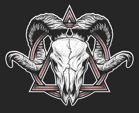 Ram skull with a geometric symbol. Dotwork style. On dark background.