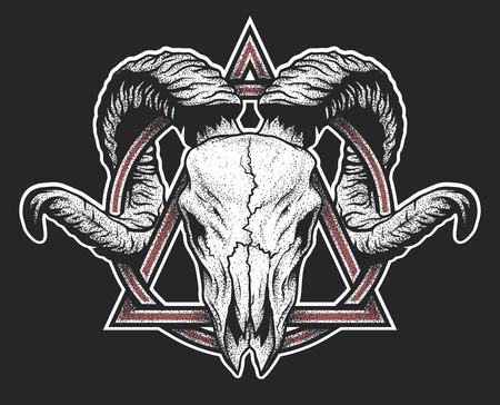 Ram skull with a geometric symbol. Dotwork style. On dark background.