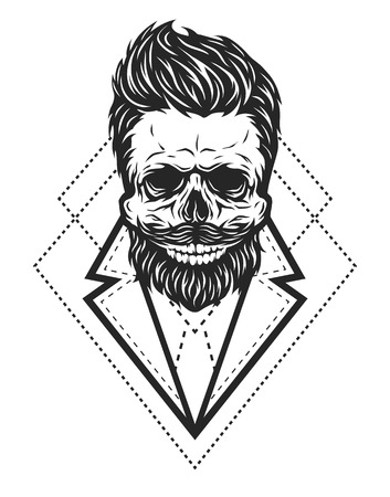 Skull hipster style with geometric elements.