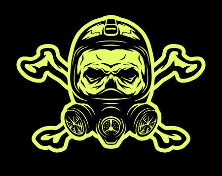 Cráneo que lleva una máscara de gas y las tibias cruzadas sobre un fondo oscuro.