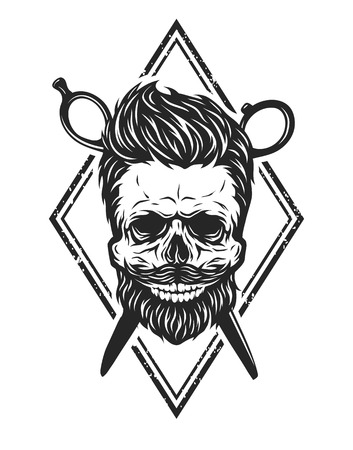 hair style: Skull with a beard and a stylish haircut. The symbol of the barber shop.