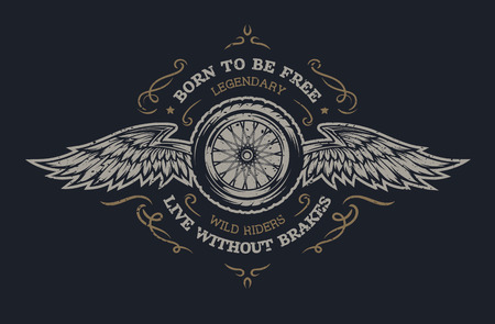 motorcycle wheel: Wheel and wings in vintage style. Emblem, symbol, t-shirt graphic. For dark background. Illustration