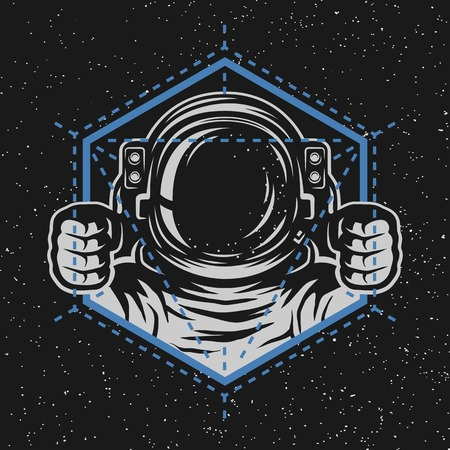 Astronaut with a geometric element. Abstract illustration.