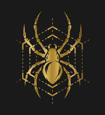cobwebby: Spider and web in the form of a geometric figure. Golden symbol on a dark background.