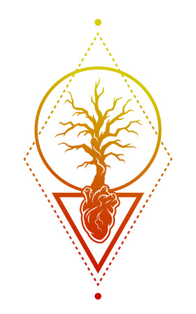 tree symbol: Human heart anatomy and the tree as a symbol of life. Tree and hearts with geometric elements.