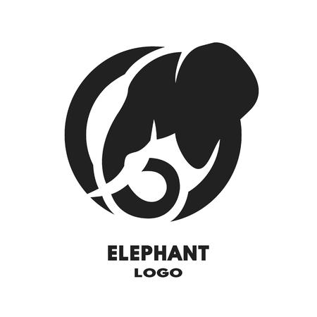 elephant head: Silhouette of the elephant monochrome. Vector illustration.