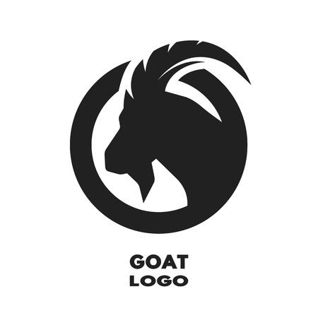 Silhouet van de geit zwart-wit. Vector illustratie.