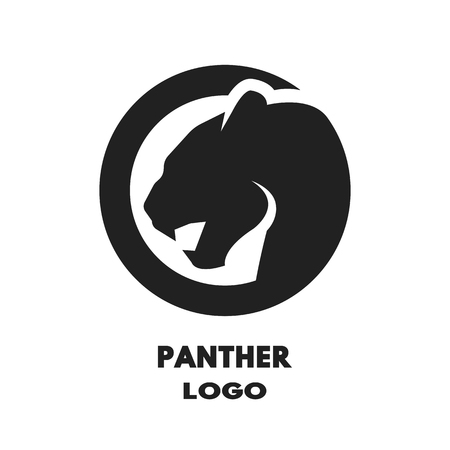 black panther: Silhouette of the panther monochrome. Vector illustration.