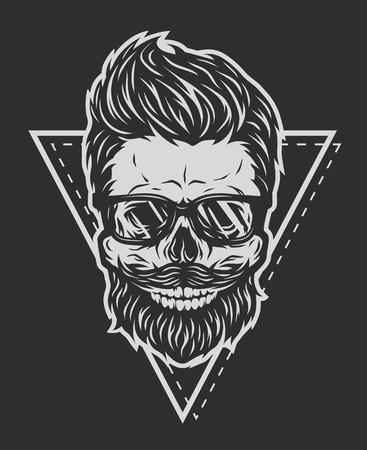 beard: Skull hipster glasses and geometric elements on a dark background. Illustration