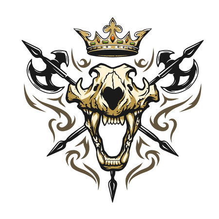 Skull of a lion crown and medieval weapons. Heraldic emblem Vectores