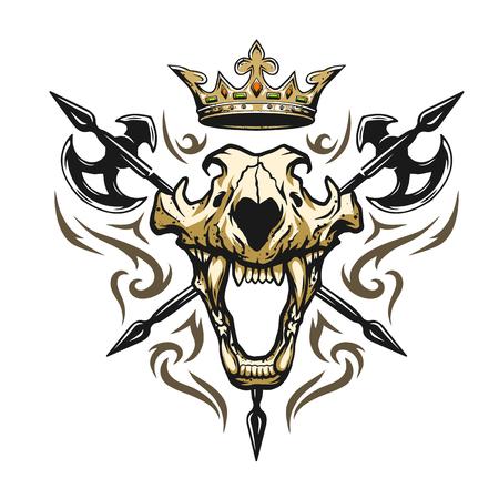 Skull of a lion crown and medieval weapons. Heraldic emblem Ilustração