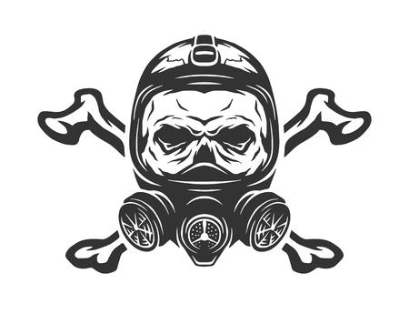 mascara de gas: Cráneo que lleva una máscara de gas y las tibias cruzadas. Ilustración del vector.