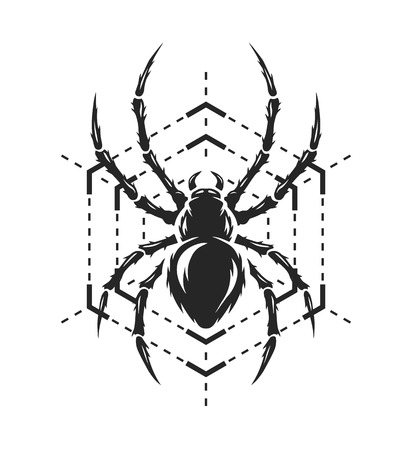 spidery: Spider and web in the form of a geometric figure monochrome symbol Vector illustration.