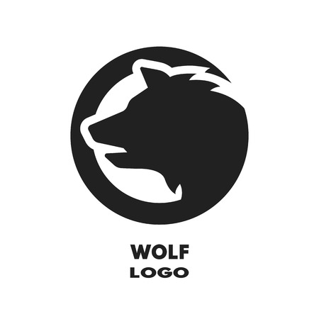 Silhouette du monochrome de loup. Vector illustration.