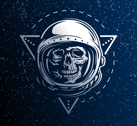 Lost in Space. A dead astronaut in a spacesuit on background of geometric elements. Vectores