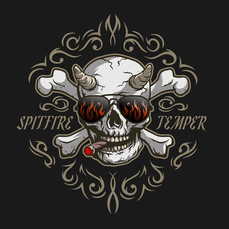 fire skull: Bones of the skull. Demon in glasses and a cigar on a dark background with a pattern. Illustration