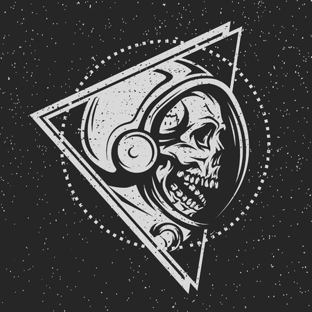 spacesuit: Dead astronaut in spacesuit and geometric element. On dark background.