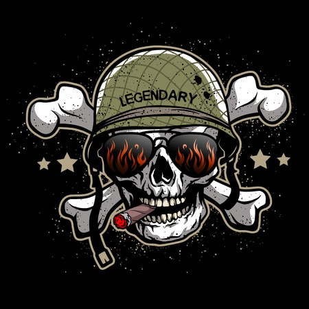military helmet: Skull in sunglasses and a military helmet. The illustration on the theme army.