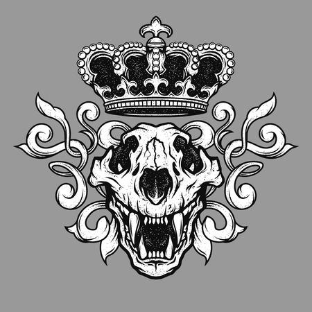 La couronne et le crâne de lion. emblème héraldique.