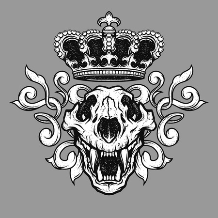 skull with crown: The crown and the lion skull. Heraldic emblem.