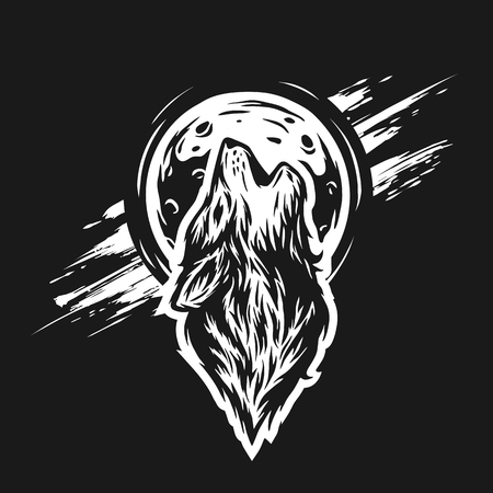 predators: The head of a wolf on the moon background in grunge style. For a dark background.