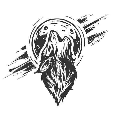loup garou: La tête d'un loup sur le fond de la lune dans le style grunge.