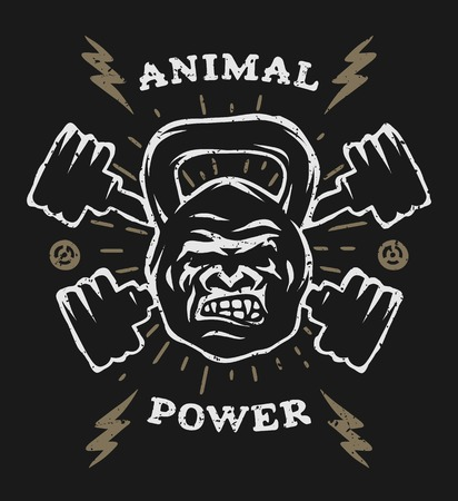 t shirt design: Two barbell and head gorilla weight. Athletic emblem, poster, t shirt design.  For a dark background. Illustration