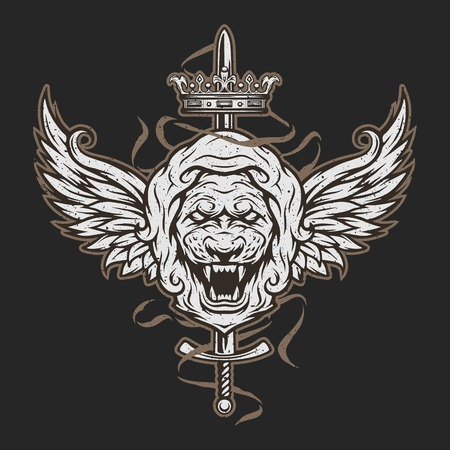 graphics design: Vintage symbol of a lion head, a crown, sword and wings. Emblem, t-shirt graphic. For a dark background. Illustration