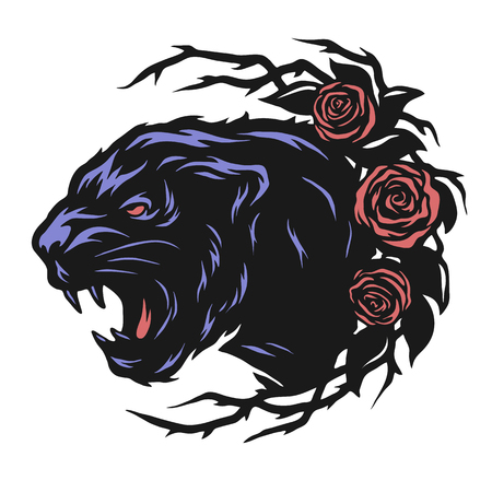 black panther: The head of a black panther and roses. Vector illustration.