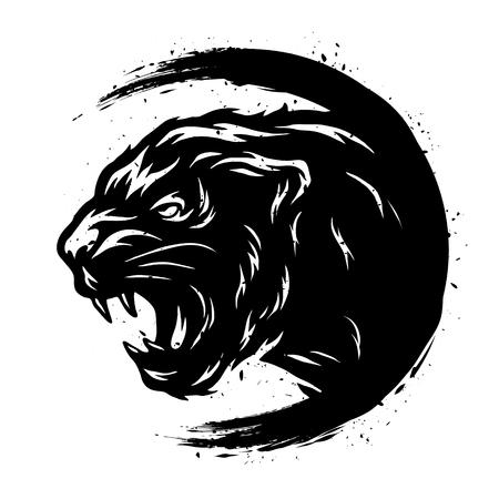 Black Panther in a grunge style. Vector illustration. Illustration