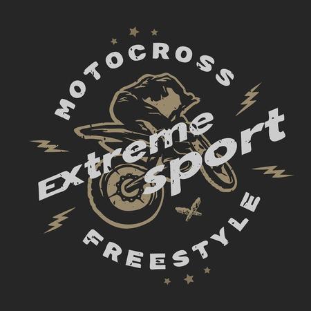 Motocross extreme sport. Embleem, t-shirtontwerp. Voor een donkere achtergrond. Vector Illustratie