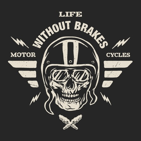 Racer skull in helmet, vintage style. Emblem, t-shirt design.  For a dark background. Иллюстрация
