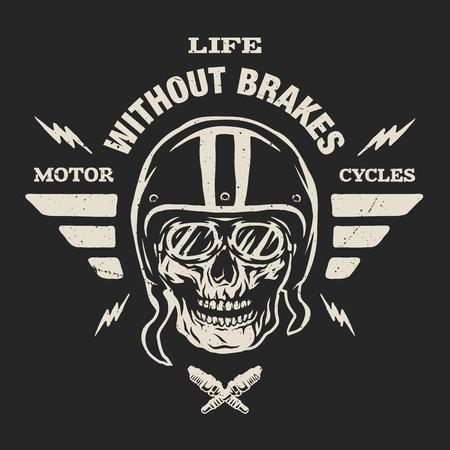 Racer skull in helmet, vintage style. Emblem, t-shirt design.  For a dark background. Çizim