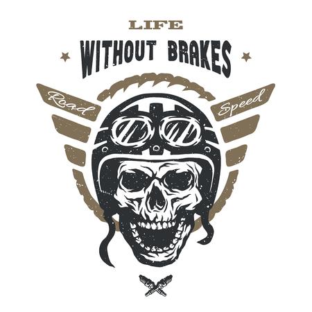 motorbike: Racer skull in helmet. Vintage style. Emblem t-shirt desig. Illustration