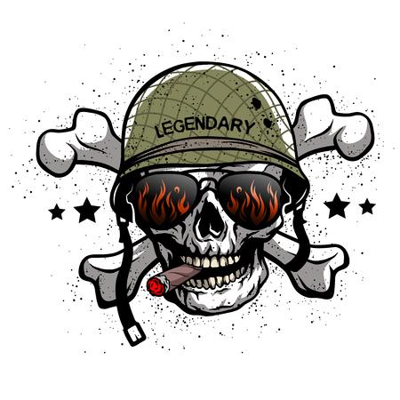 muerte: Cráneo con gafas de sol y un casco militar. La ilustración en el tema del ejército.