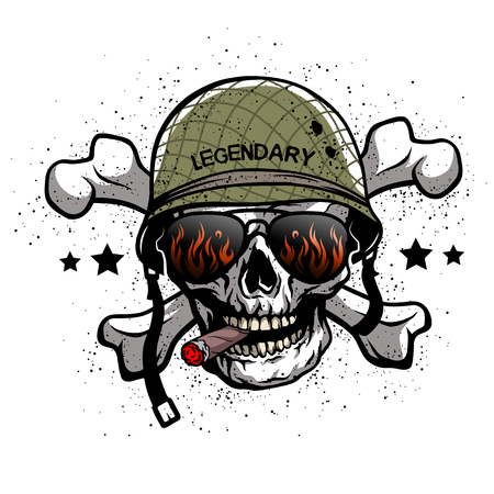 Skull with sunglasses and a military helmet. The illustration on the theme of the army. Stock Illustratie