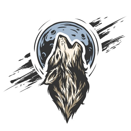 howl: The head of a wolf on the moon background in grunge style. Illustration