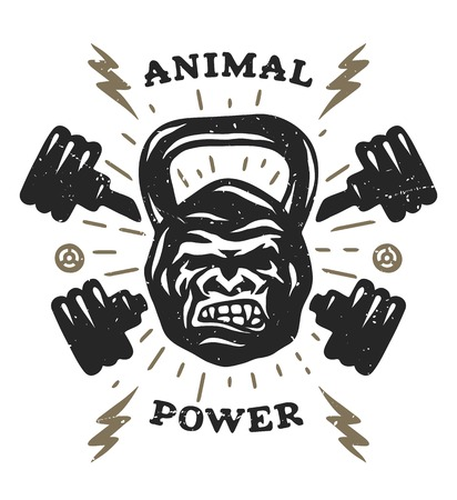 Two barbell and head gorilla weight. Athletic emblem, poster, t shirt design. Stock fotó
