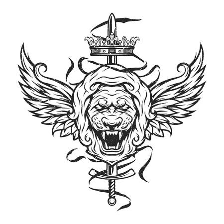 Vintage symbol of a lion head, a crown, sword and wings. Emblem, t-shirt graphic. Vektorové ilustrace