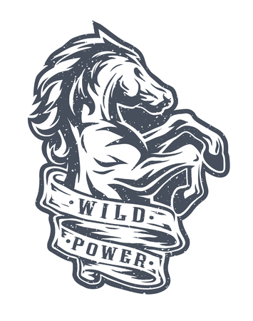 Wild horse and ribbon for text. Emblem, t shirt design.