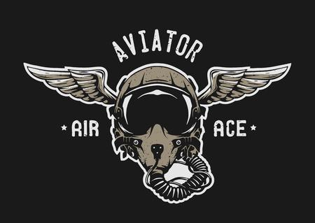 戦闘機のパイロット ヘルメット エンブレム t シャツ デザイン。  イラスト・ベクター素材