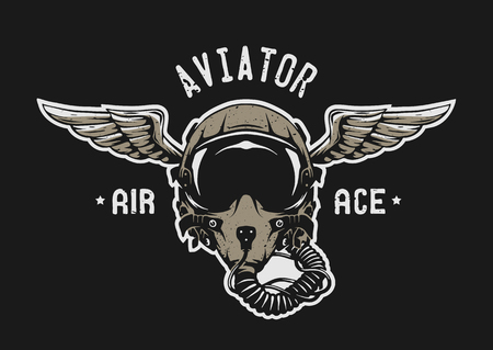 Fighter Pilot Helmet Emblem t shirt design.