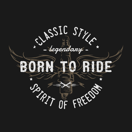 Plug and wings, the spirit of freedom. Emblem, t-shirt design.