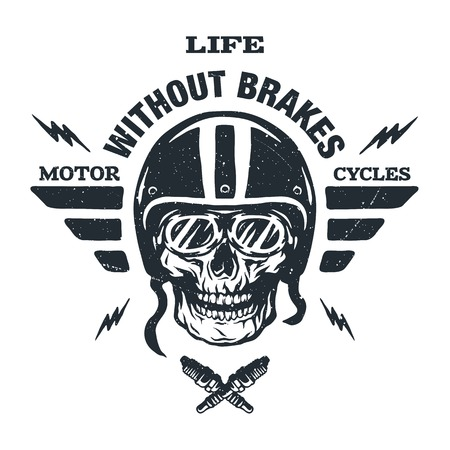 Racer skull in helmet vintage style. Emblem t shirt design. Vector Illustration
