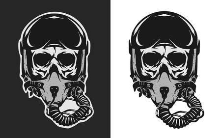 Skull in combat pilot helmet, two versions.