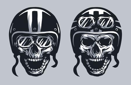 motorista del cráneo en casco y gafas, dos versiones. Ilustración de vector