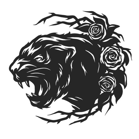 black panther: The head of a black panther and roses.
