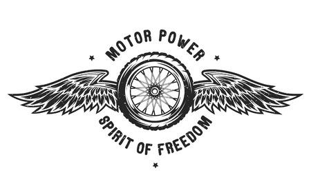 Wheel and wings, the spirit of freedom. Emblem t-shirt design. Ilustração