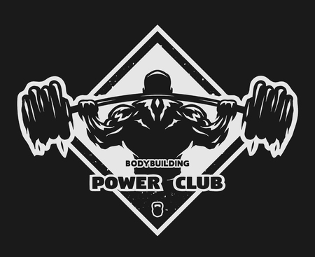 steroids: Bodybuilder with a barbell Label emblem t-shirt design. Dark background.
